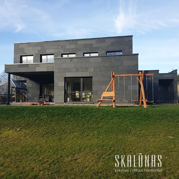 1812 Fasado apdaila, natūralus akmuo, skalūnas GREY GREEN, Molėtai 2019